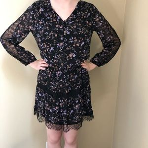 Joie NWT Floral and Black Lace Dress